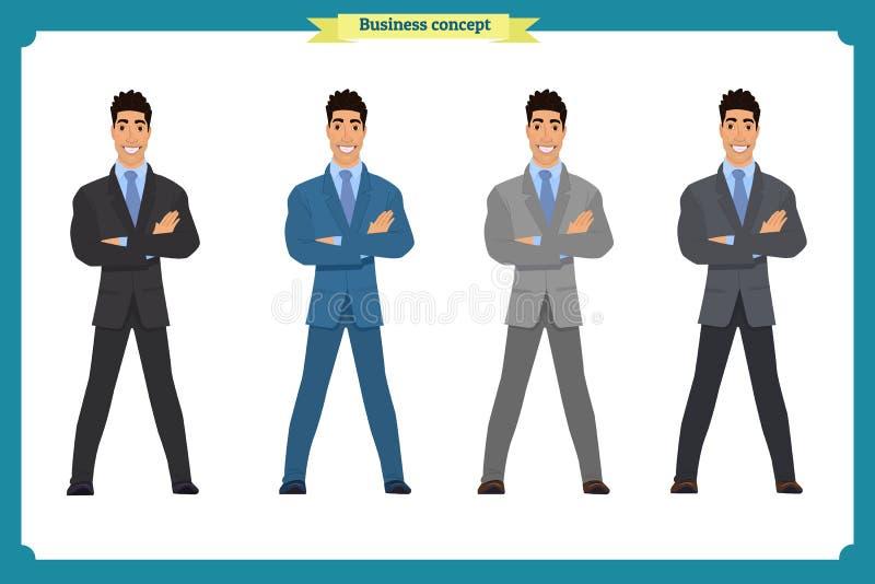 Счастливый элегантный бизнесмен в костюме Стоящая персона человек предпосылки изолированный делом над белизной иллюстрация вектора