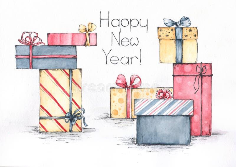 Счастливый эскиз акварели подарков Нового Года иллюстрация вектора