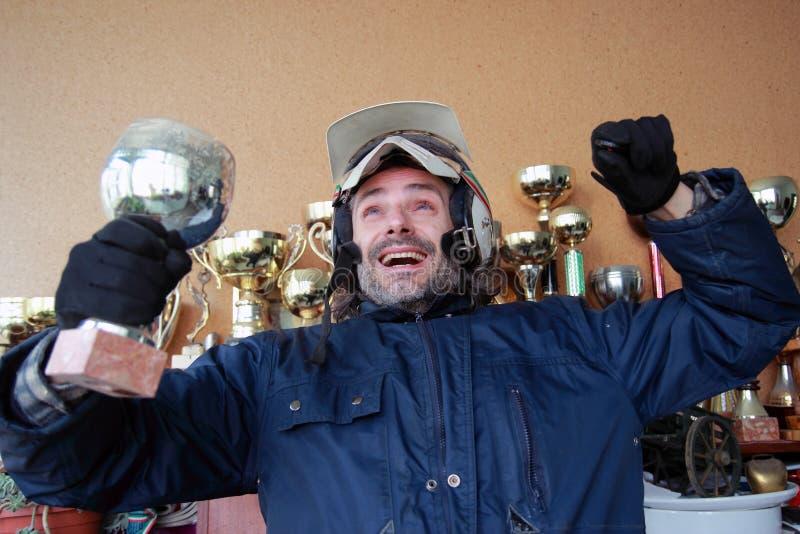 счастливый motorcyclist стоковая фотография rf