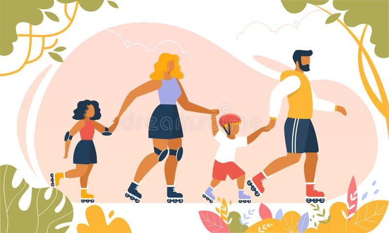 Счастливый Outdoors Rollerblading образа жизни семьи иллюстрация вектора