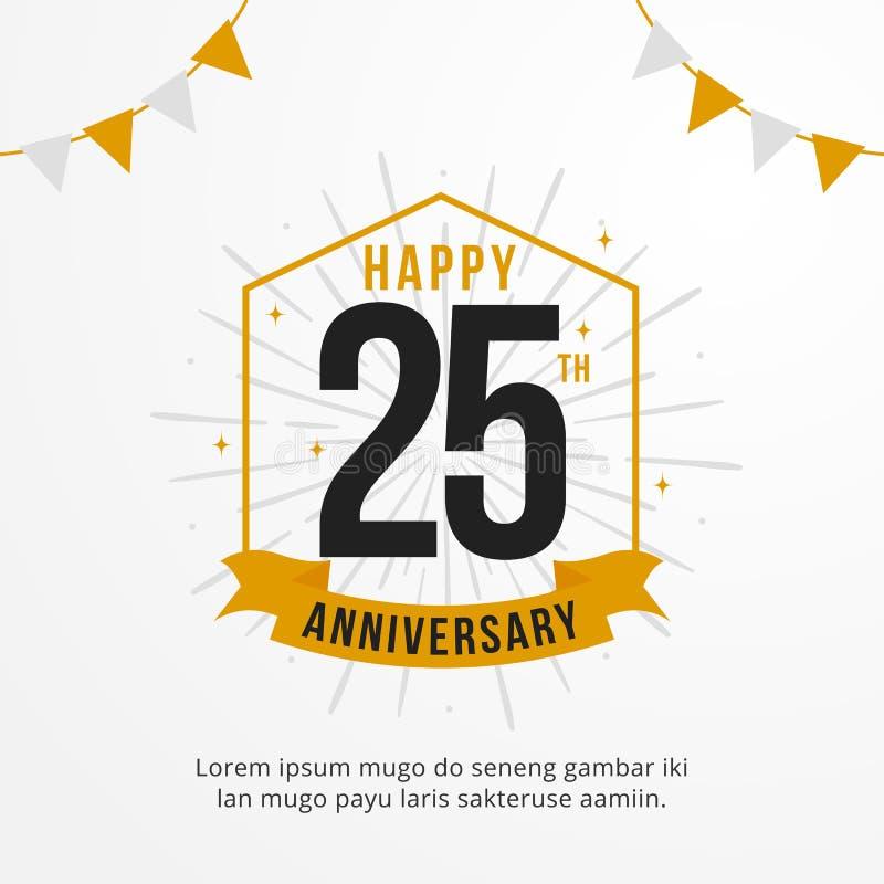 Счастливый 25th значок логотипа годовщины минимальный дизайн вектора предпосылки события дня рождения бесплатная иллюстрация