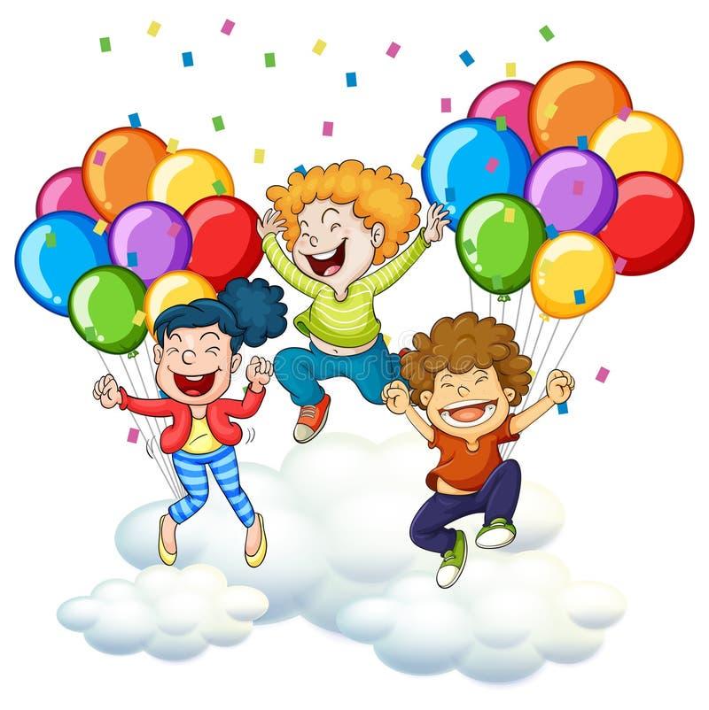 3 счастливых дет с красочными воздушными шарами бесплатная иллюстрация