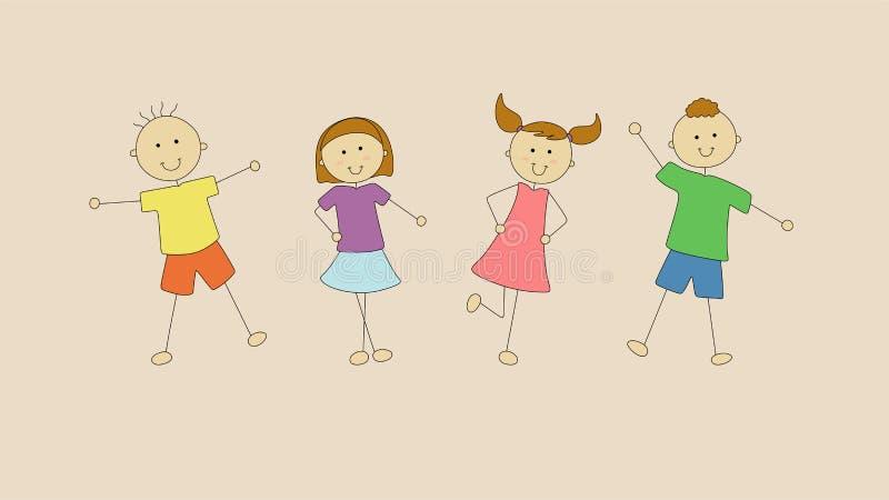 4 счастливых дет хотят сыграть совместно бесплатная иллюстрация
