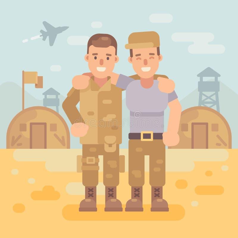2 счастливых друз солдата в иллюстрации военного лагеря плоской иллюстрация вектора