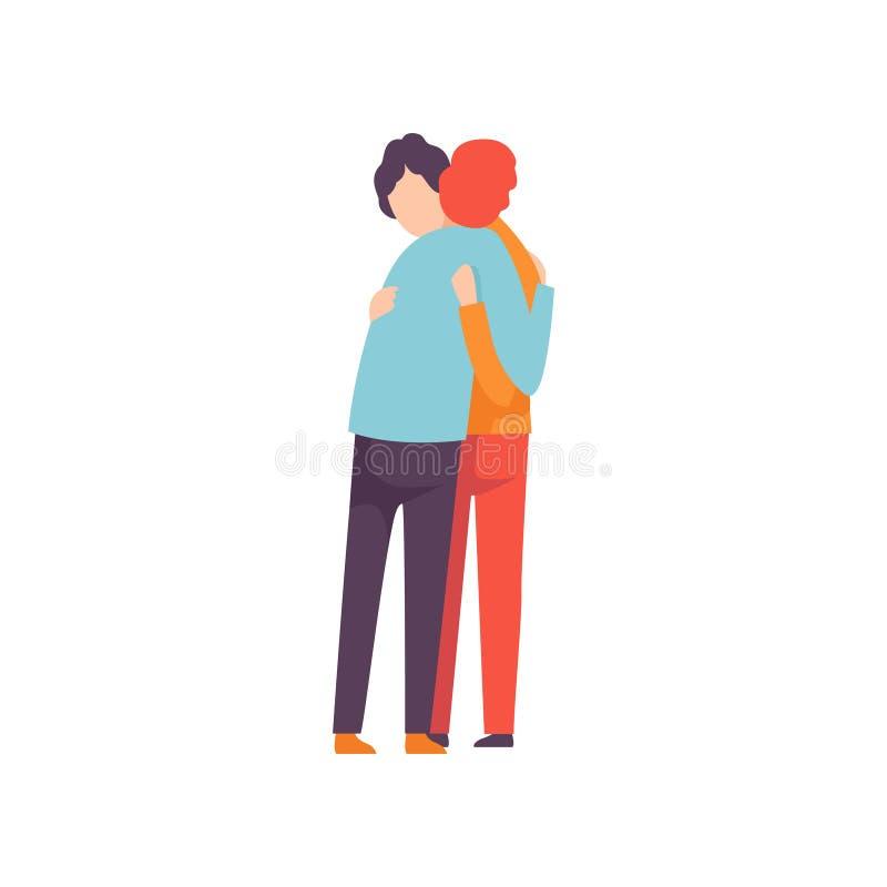 2 счастливых молодые люди обнимая один другого, счастливую встречу, людей празднуя событие, лучшие други, концепцию приятельства иллюстрация штока