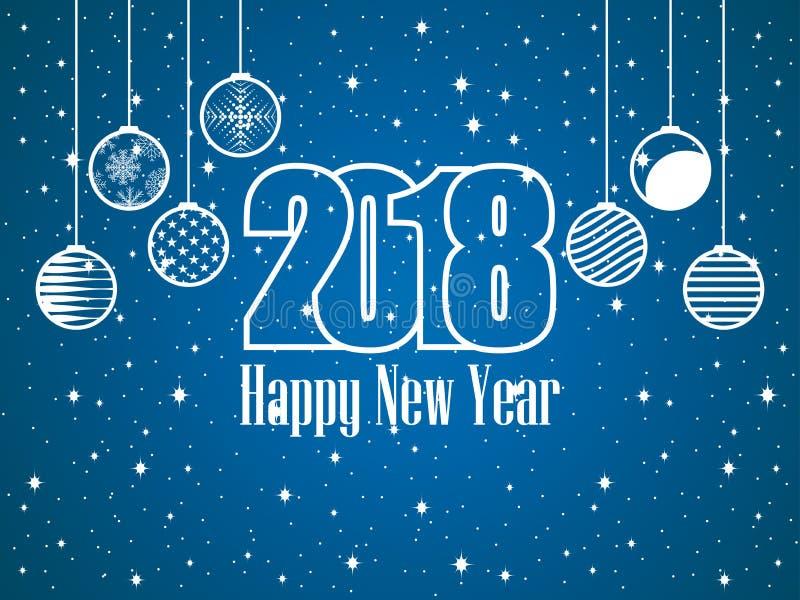 2018 счастливых Новых Годов висеть рождества шариков покрытая Снег предпосылка с звездами праздничная открытка вектор бесплатная иллюстрация
