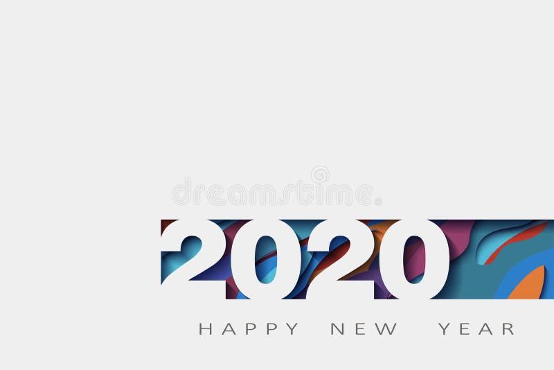 2020 счастливых Новых Годов, год крысы, абстрактный дизайн 3d, иллюстрация, наслоенное реалистическое, для знамен, летчики плакат иллюстрация штока
