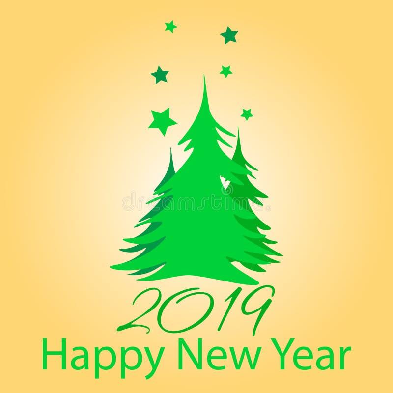 2019 счастливых Новых Годов иллюстрация вектора