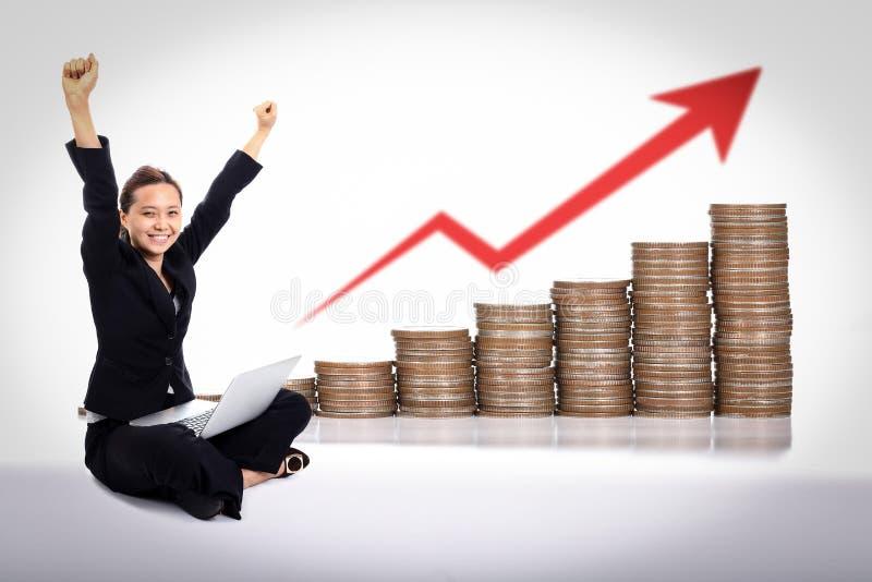 Счастье бизнес-леди стоковые изображения