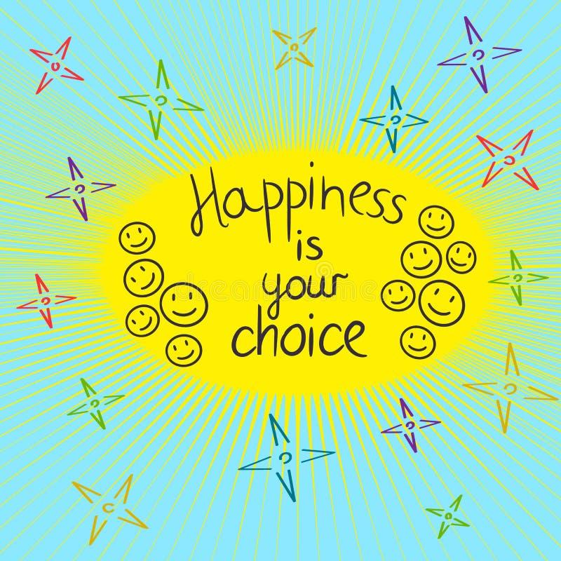 Счастье ваша отборная рука мотивировки написанная guote иллюстрация штока