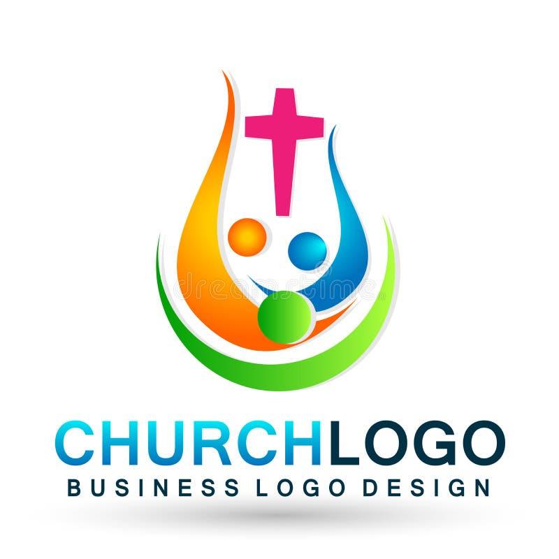Счастье значка логотипа семьи соединения людей церков выигрывая любит совместно символ здоровья здоровья успеха работы команды на иллюстрация вектора