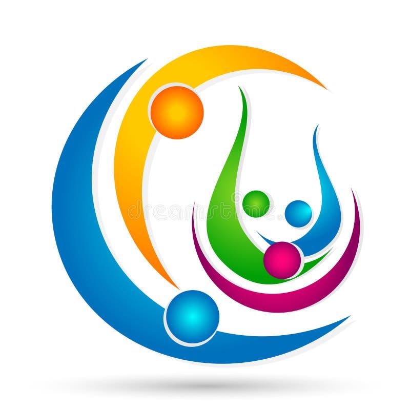 Счастье значка логотипа соединения людей мира глобуса выигрывая любит совместно символ здоровья здоровья успеха команды на белой  бесплатная иллюстрация