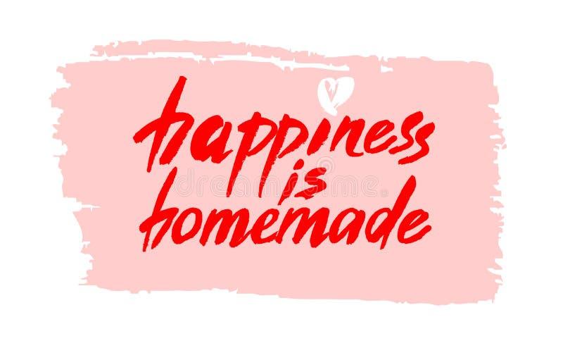 Счастье домодельно Вдохновляющая цитата о жизни, доме, отношении Современная фраза каллиграфии Литерность вектора иллюстрация штока