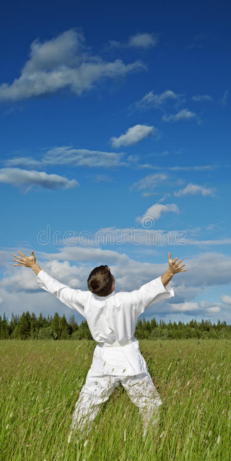 счастье рук сини поднимало небо персоны к стоковое изображение rf