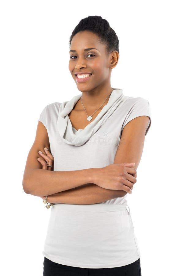 Счастливая африканская женщина стоковые изображения rf