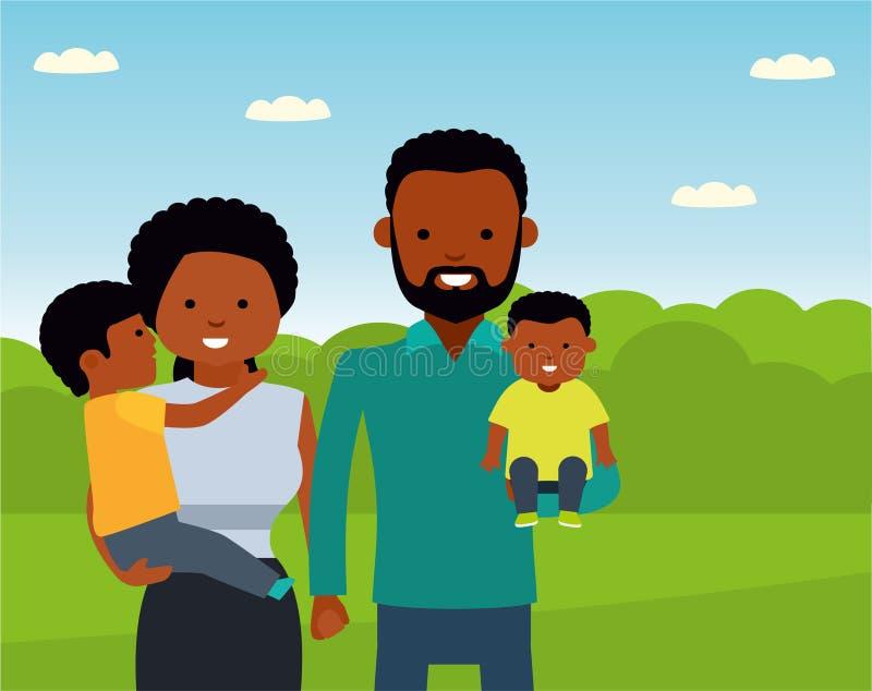 Счастливая африканская семья в парке семья афроамериканца бесплатная иллюстрация