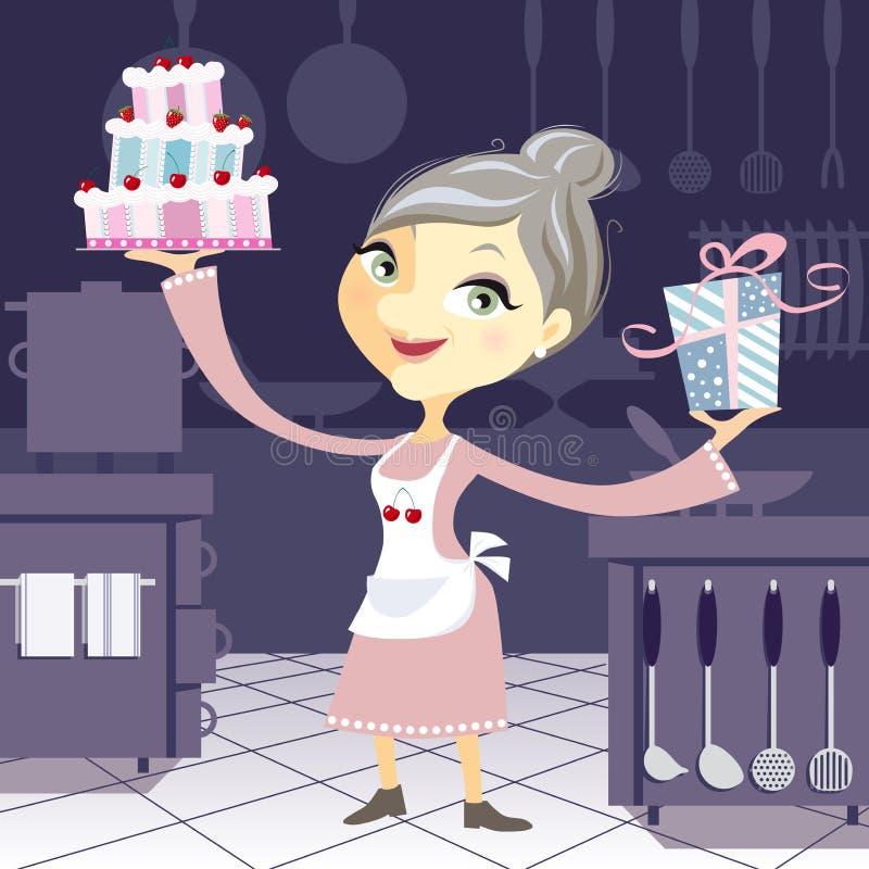 Счастливая бабушка в кухне с днем рождения c стоковые фото