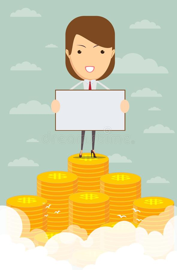 Счастливая бизнес-леди поднимая от кучи денег иллюстрация штока