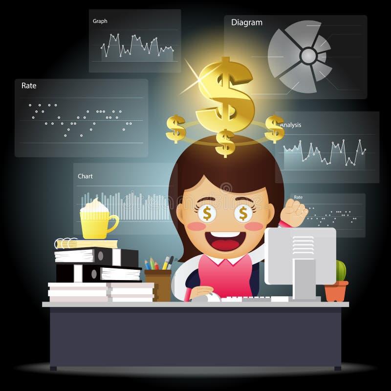 Счастливая бизнес-леди работая на компьютере с преобразованием данных иллюстрация штока
