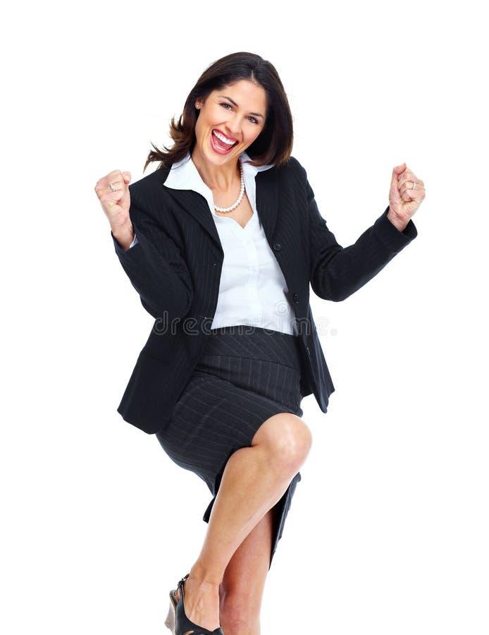 Счастливая бизнес-леди. стоковое изображение rf