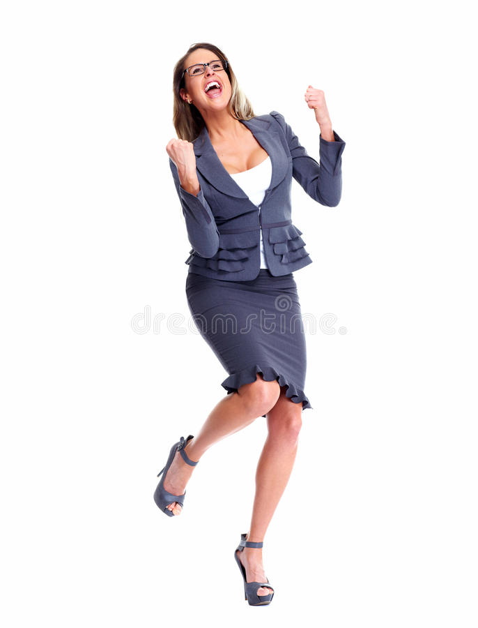 Счастливая бизнес-леди. стоковое фото rf