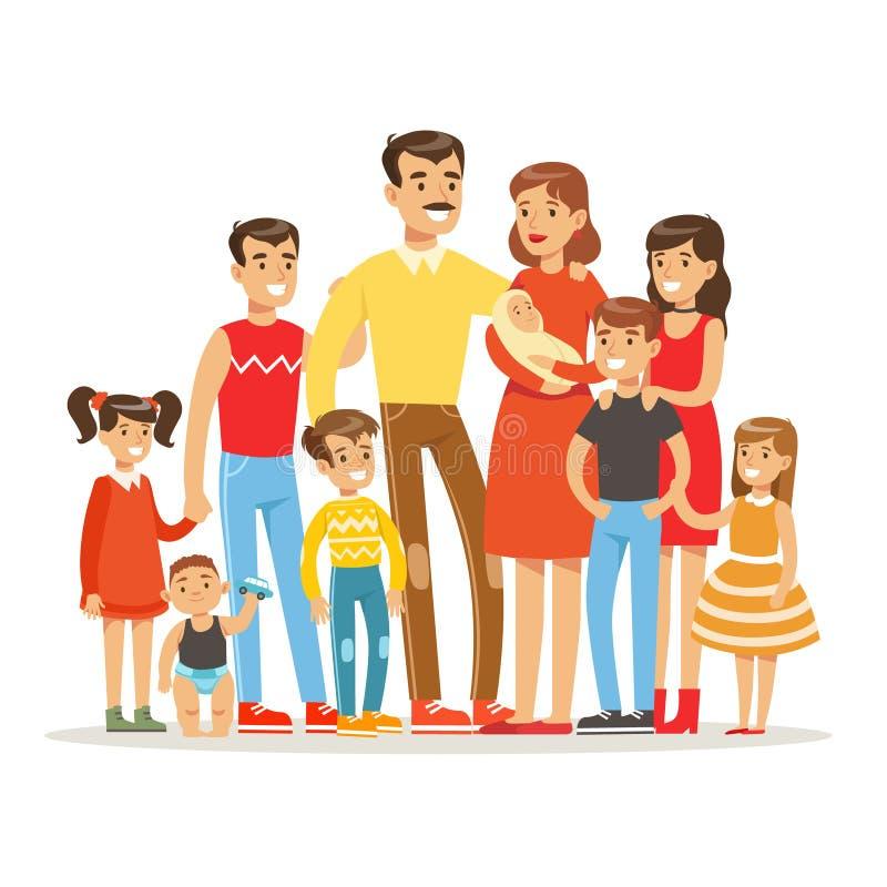Счастливая большая кавказская семья с портретом много детей с всеми детьми и младенцами и утомленными родителями красочными иллюстрация штока