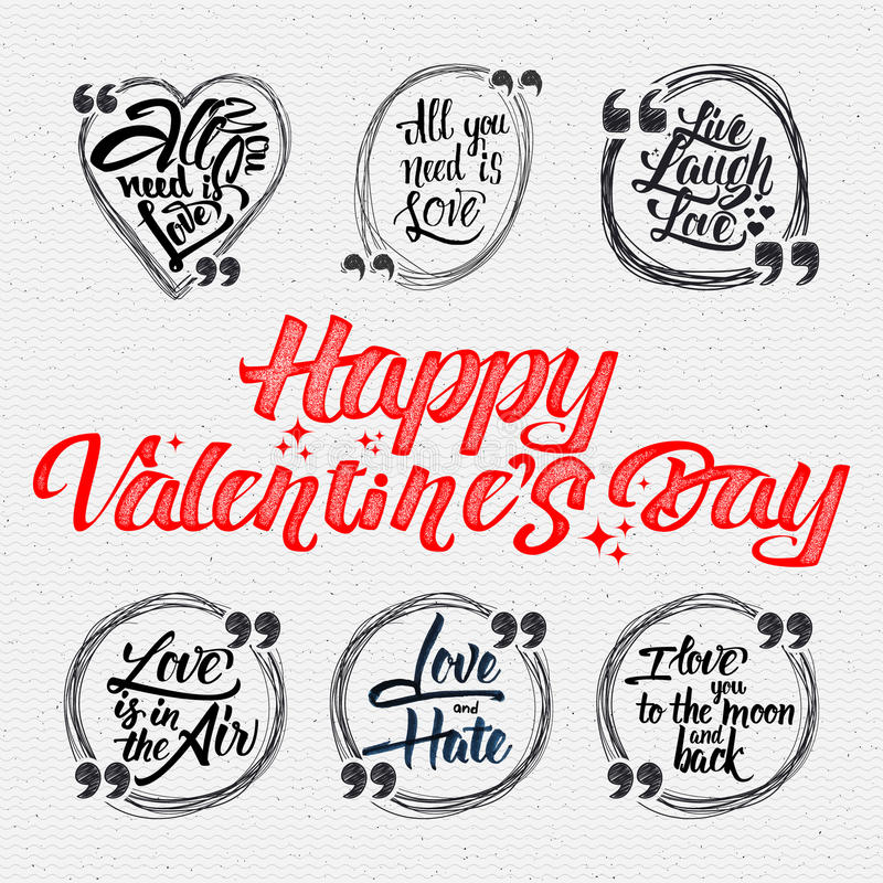 Счастливая валентинка цитаты дня каллиграфические около иллюстрация вектора