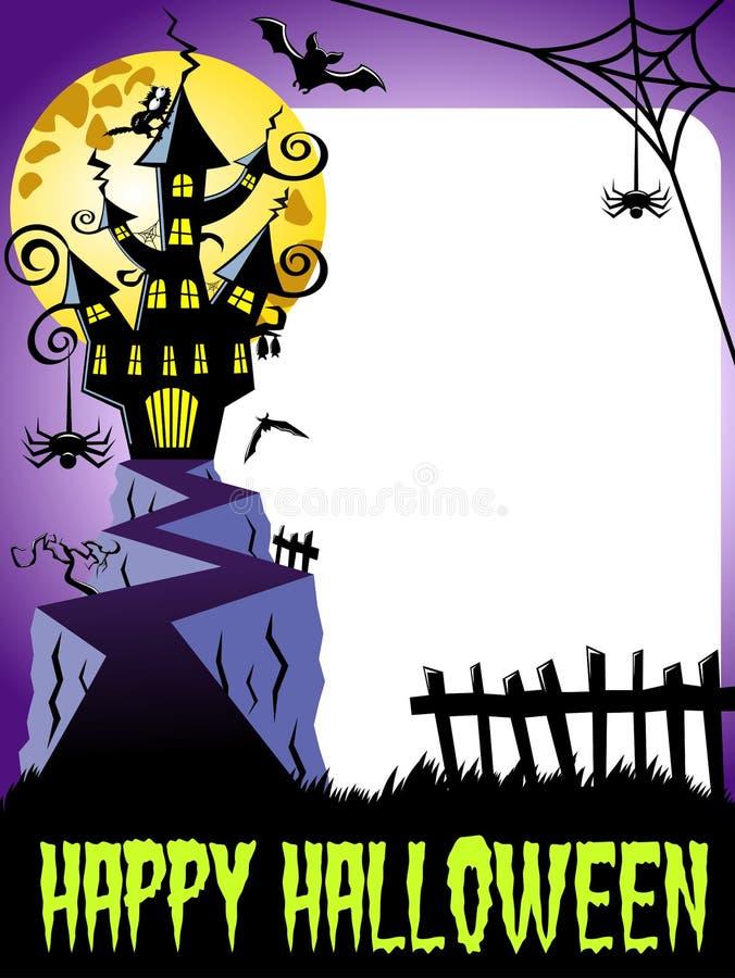 Счастливая вертикаль рамки фото хеллоуина преследовала полнолуние замка большое бесплатная иллюстрация