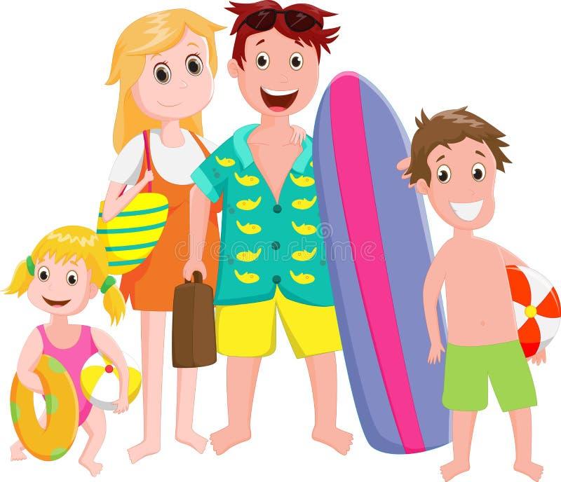 Счастливая вылазка семьи на пляже на белизне иллюстрация вектора