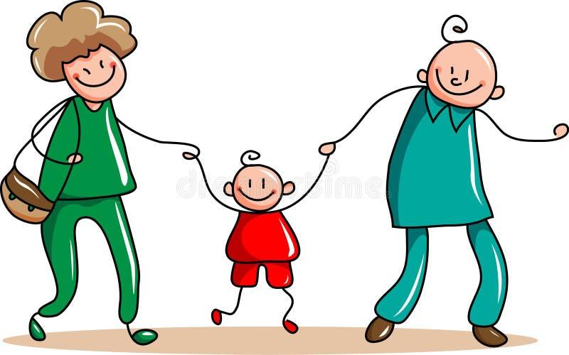 Счастливая вылазка семьи иллюстрация штока