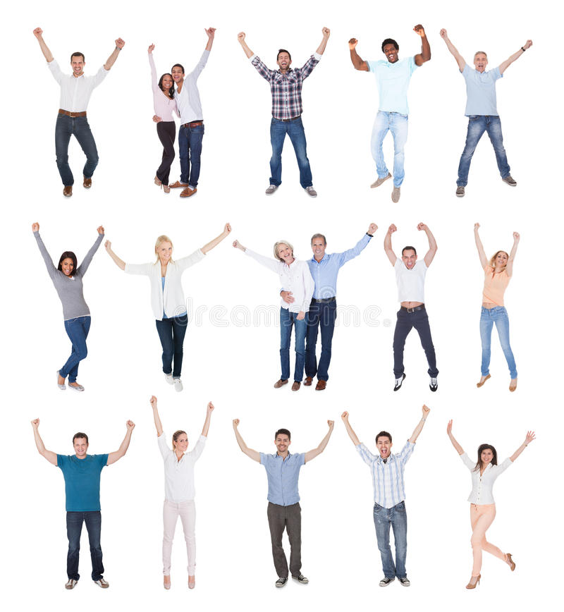 Счастливая группа людей одетая в вскользь стоковая фотография
