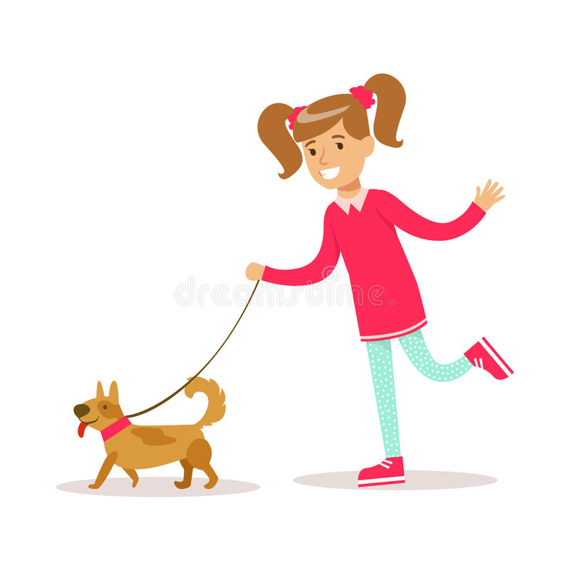 Счастливая девушка в персонаже из мультфильма классических Girly одежд цвета усмехаясь идя собака иллюстрация штока