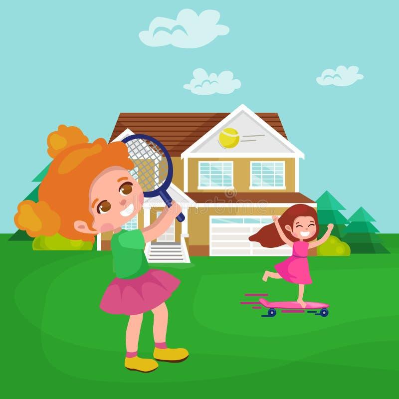 Счастливая девушка играя теннис, детей резвится, иллюстрация вектора деятельности при детей бесплатная иллюстрация
