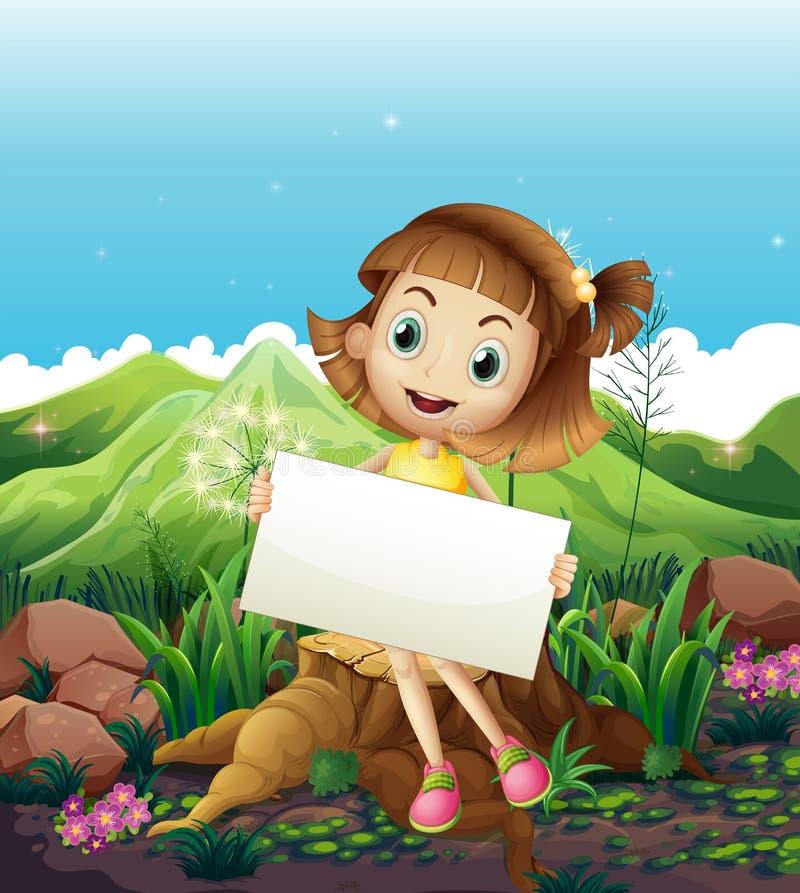 Счастливая девушка сидя над пнем пока держащ пустой знак бесплатная иллюстрация