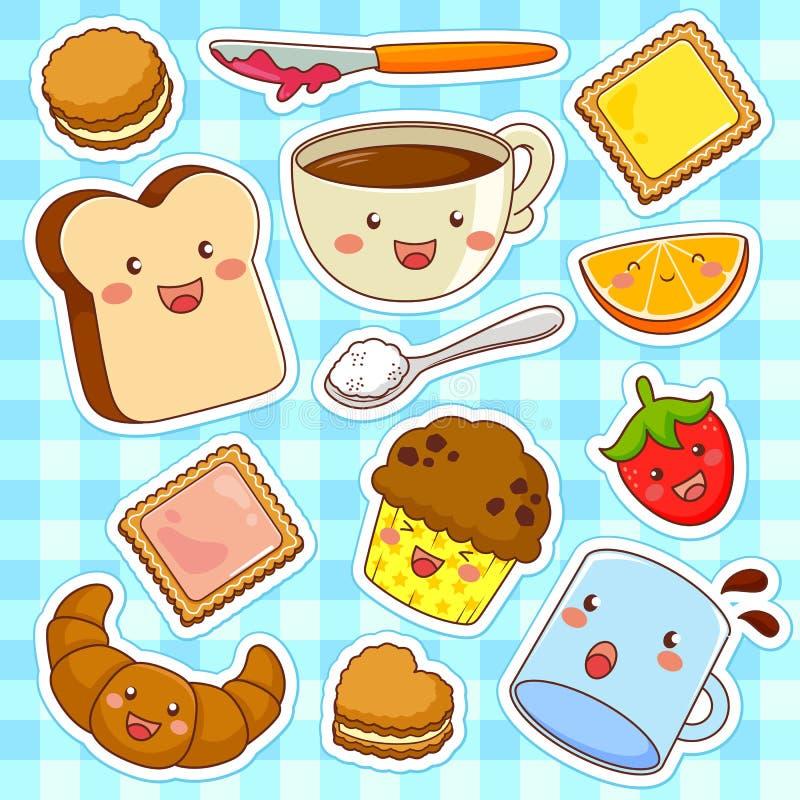 Счастливая еда шаржа иллюстрация вектора