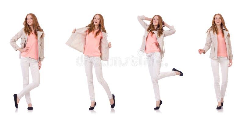 Счастливая женщина в одежде зимы изолированной на белизне стоковые фотографии rf