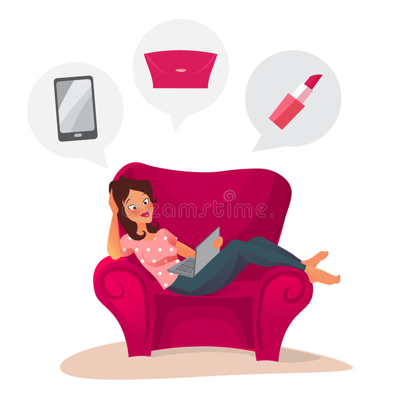 Счастливая женщина делая онлайн ходить по магазинам дома иллюстрация вектора