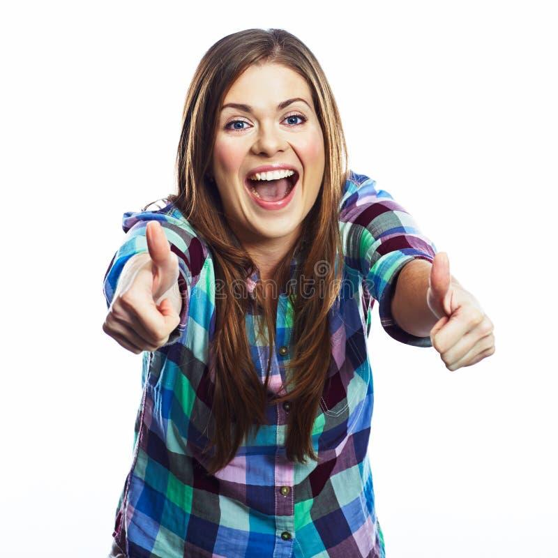 счастливая женщина портрета усмехаться изолированный девушкой Белая предпосылка стоковые фото
