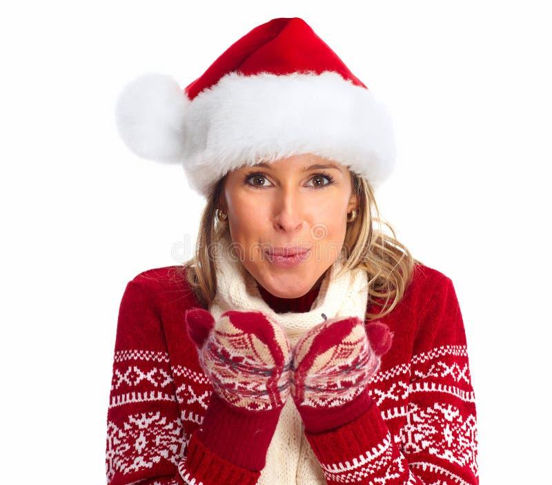 Счастливая женщина с шляпой santa стоковое изображение rf