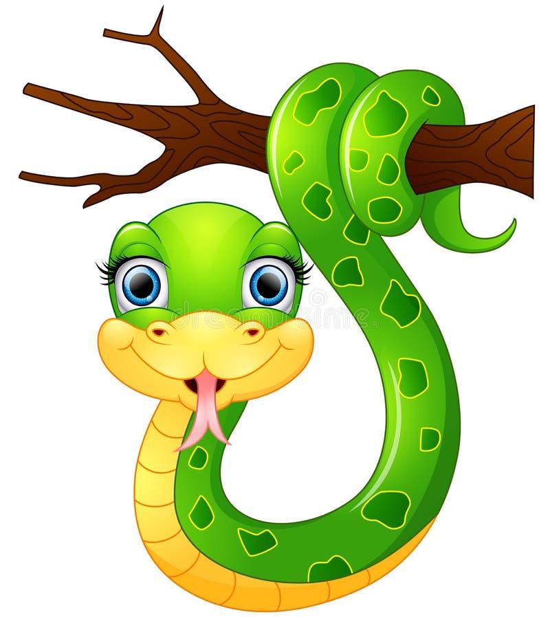 Счастливая зеленая змейка на ветви иллюстрация штока