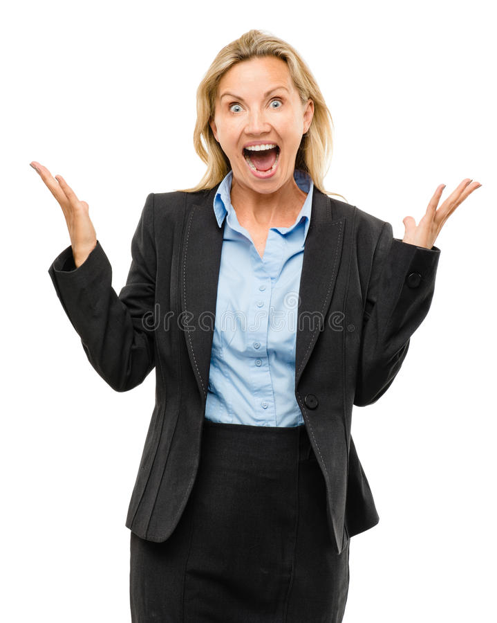 Счастливая зрелая бизнес-леди изолированная на белой предпосылке стоковые фотографии rf