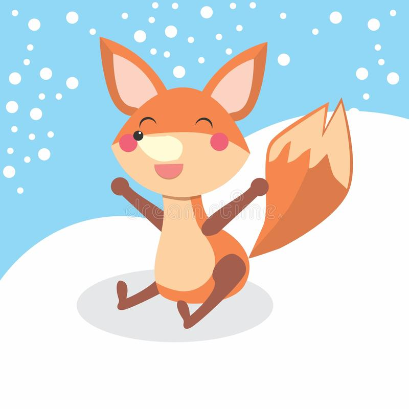 Счастливая лисица иллюстрация штока