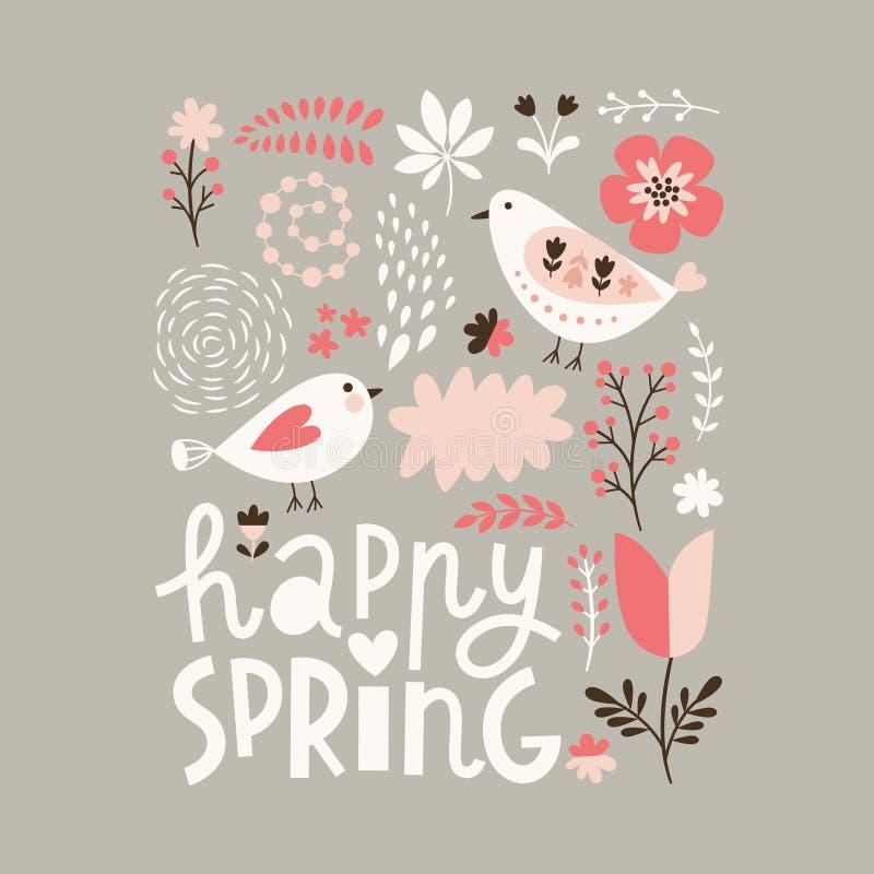 Счастливая иллюстрация весны бесплатная иллюстрация