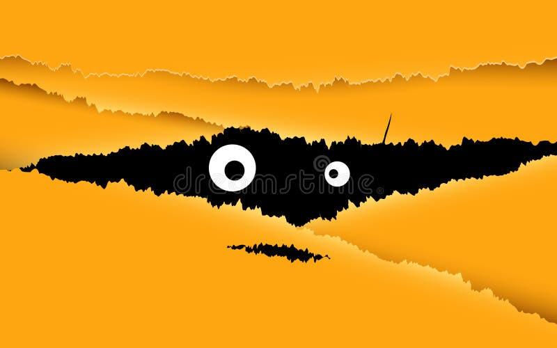 Счастливая иллюстрация дизайна хеллоуина Посмотрите через отказ для желтой предпосылки бесплатная иллюстрация