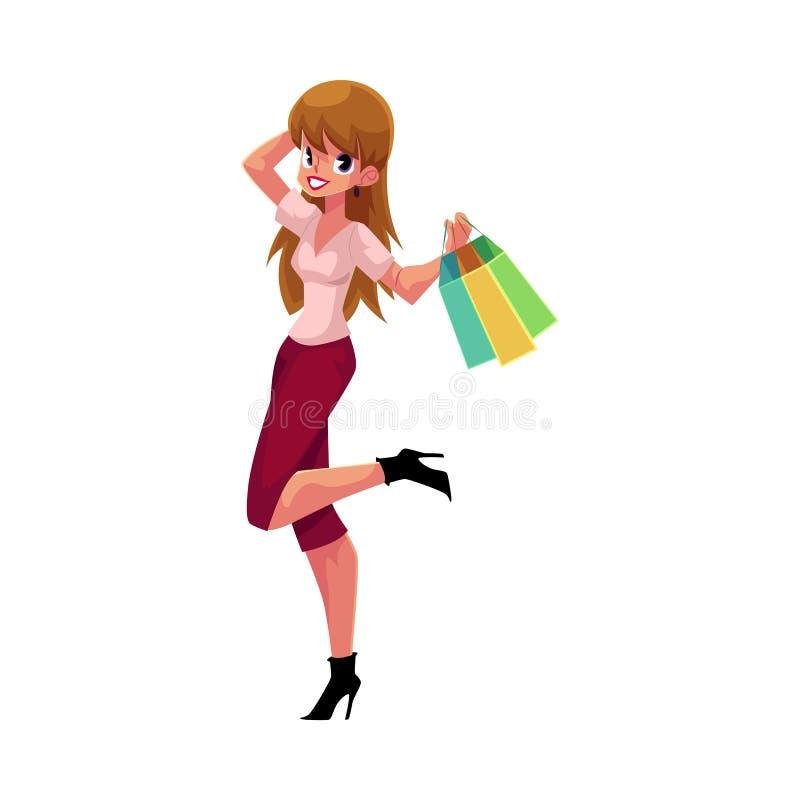 Счастливая кавказская девушка, женщина с хозяйственными сумками, концепция продажи праздника иллюстрация вектора
