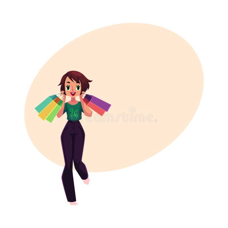 Счастливая кавказская девушка, женщина с хозяйственными сумками, концепция продажи праздника иллюстрация штока