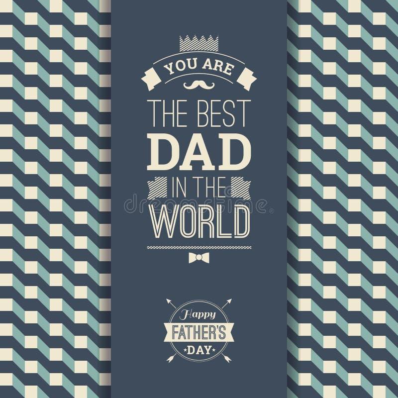 Счастливая карточка Дня отца в ретро стиле иллюстрация штока