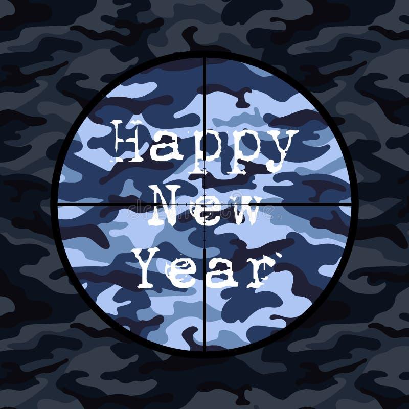 Счастливая карточка Нового Года в стиле войск с объемом снайпера на голубом камуфлировании бесплатная иллюстрация