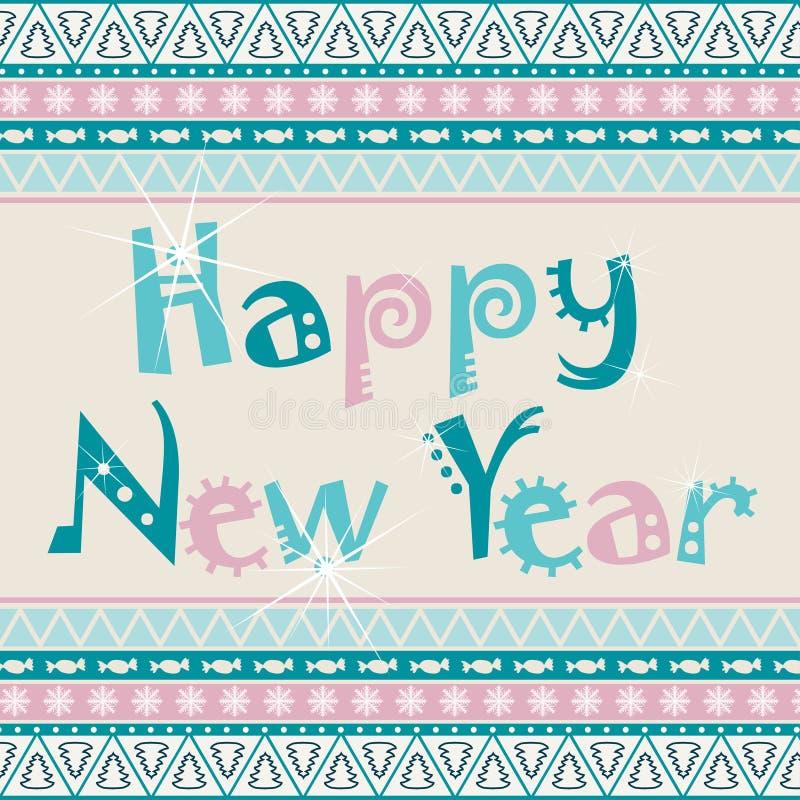 Счастливая карточка Нового Года с африканским дизайном орнамента бесплатная иллюстрация