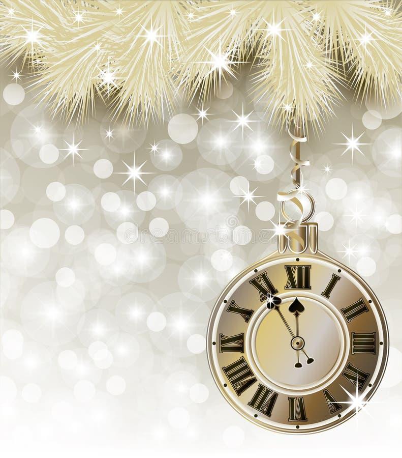 Счастливая карточка Нового Года y с Рождеством Христовым золотая иллюстрация штока